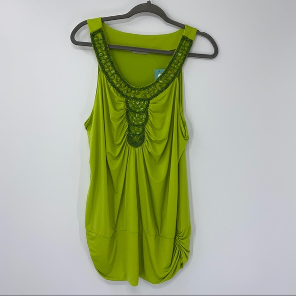 NEW Maurices Embellished Rouched Tank Top 2X